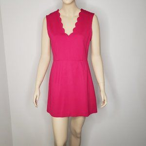 French Connection Pink Scallop V Neck Dress 8